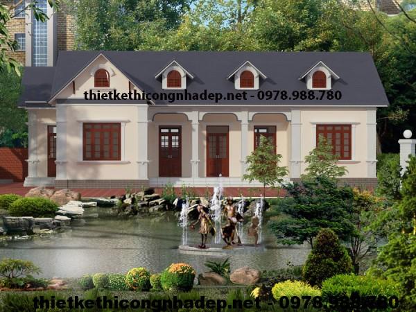 Thiết kế nhà vườn 1 tầng, thiết kế nhà 1 tầng đẹp NDBT1T5