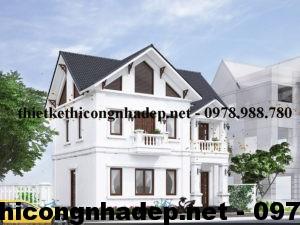 Biệt thự 2 tầng đẹp, mẫu biệt thự 2 tầng mái thái NDBT2T7