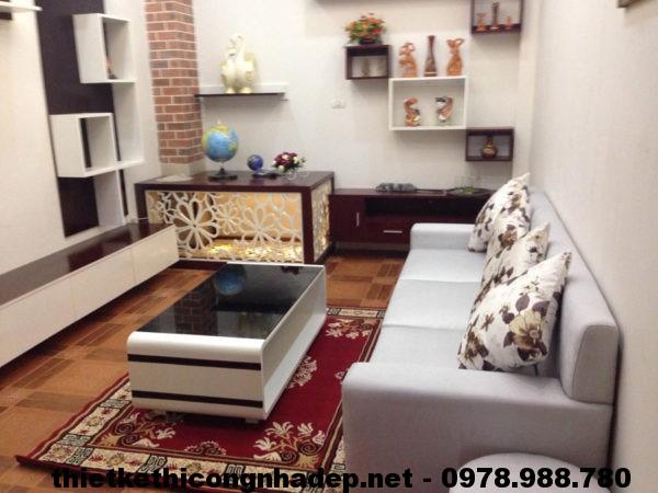 Phòng khách đẹp sau thi công NDNTPK1