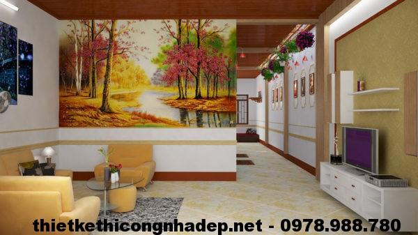 Phòng khách nhà cấp 4 mái tôn NDNC410