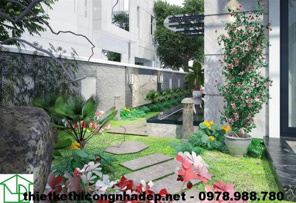 Sân vườn bên trái biệt thự 3 tầng NDBT3T1