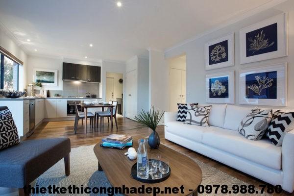 Phòng bếp, phòng khách biệt thự đẹp NDBT1T10