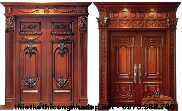 Mẫu cửa đi bằng gỗ 4 cánh, mẫu cửa đi 2 cánh bằng gỗ