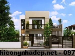 Mẫu nhà 2 tầng đẹp, thiết kế nhà 2 tầng mái bằng đẹp NDMN2T3