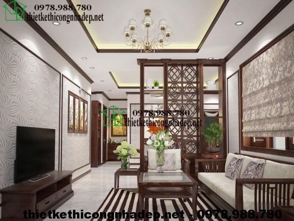 Nội thất phòng khách nhà cấp 4 đẹp NDNC413
