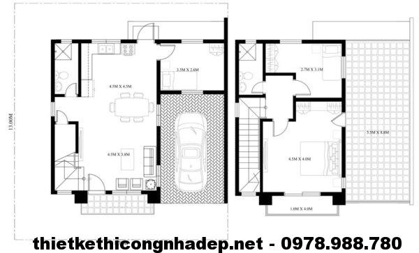 Thiết kế nhà 2 tầng mái bằng NDMN2T3