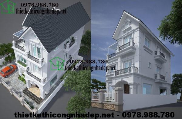 Biệt thự 3 tầng mái thái NDBT3T3