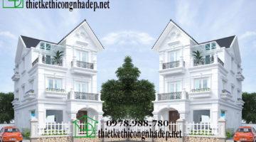 Biệt thự 3 tầng tân cổ điển Pháp, biệt thự 3 tầng mái thái NDBT3T3