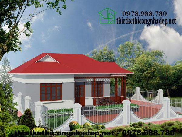Nhà cấp 4 nông thôn đẹp NDNC418