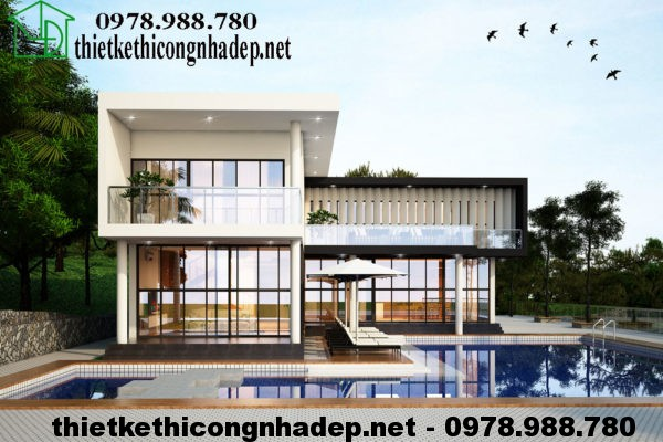 Biệt thự 2 tầng mái bằng NDBT2T13