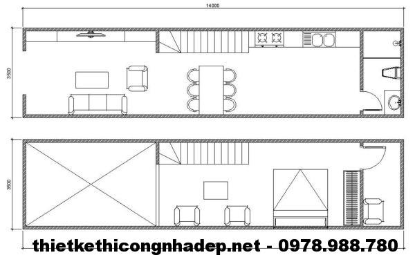 Mặt bằng nhà cấp 4 gác lửng NDNC422