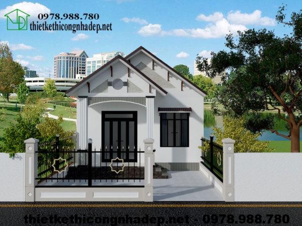 Thiết kế nhà cấp 4 mái thái 3 phòng ngủ NDNC422