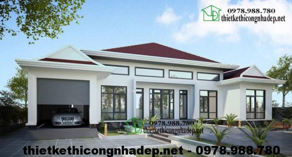 Nhà vườn 1 tầng đẹp, thiết kế biệt thự vườn mái thái NDBT1T14