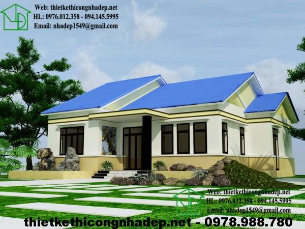 Mẫu nhà 1 tầng đẹp ở nông thôn, mẫu nhà 1 tầng 4 phòng ngủ NDBT1T15