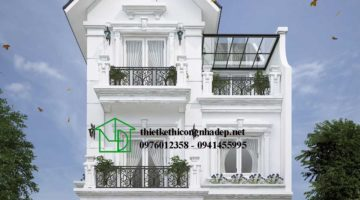 Biệt thự 3 tầng tân cổ điển, mẫu biệt thự đẹp 3 tầng NDBT3T4