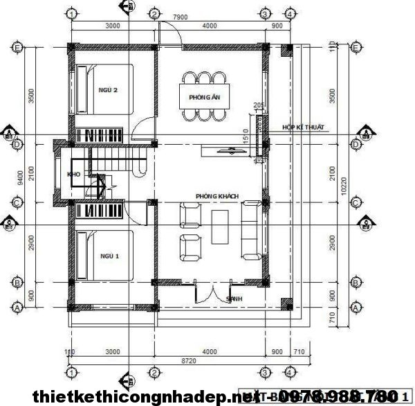 Mặt bằng tầng 1 biệt thự 2 tầng NDBT2T14