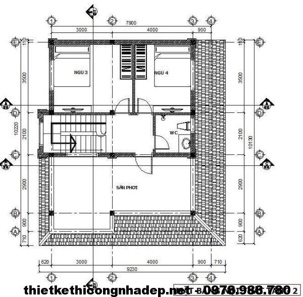 Mặt bằng tầng 2 biệt thự 2 tầng NDBT2T14