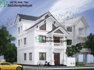 Biệt thự 3 tầng mái thái, mẫu nhà biệt thự 3 tầng hiện đại NDBT3T6