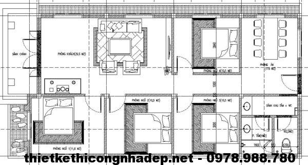 Mặt bằng nhà cấp 4 mái thái NDNC426