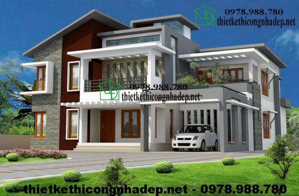 Mẫu nhà đẹp 2 tầng, thiết kế nhà đẹp 2 tầng NDBT2T16-9