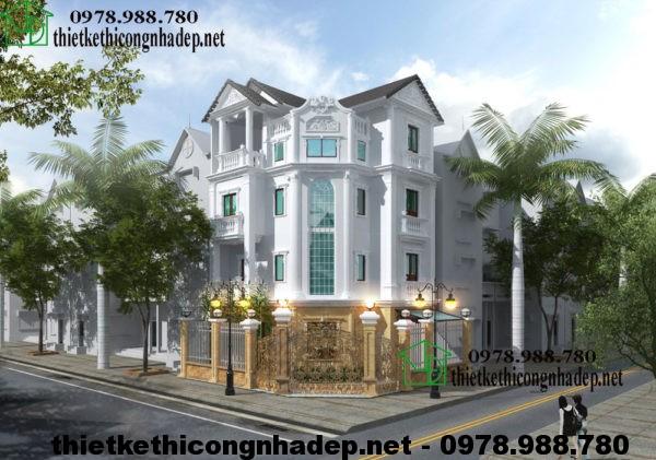 Nhà biệt thự 4 tầng đẹp, biệt thự 4 tầng tân cổ điển NDBT4T1