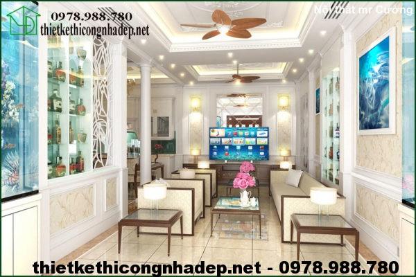Phòng khách biệt thự tân cổ điển NDBT4T1