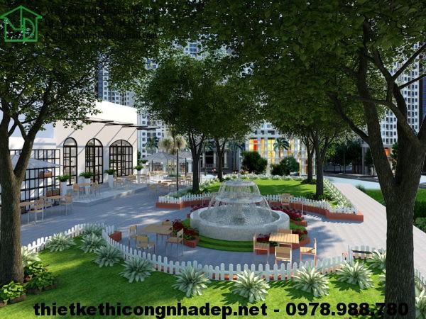 Phối cảnh sân vườn quán cafe NDCF3