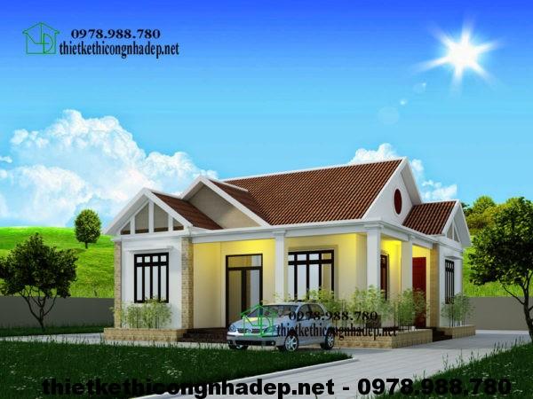 Biệt thự mini nhà vườn, biệt thự mini 1 tầng mái thái NDBT1T18