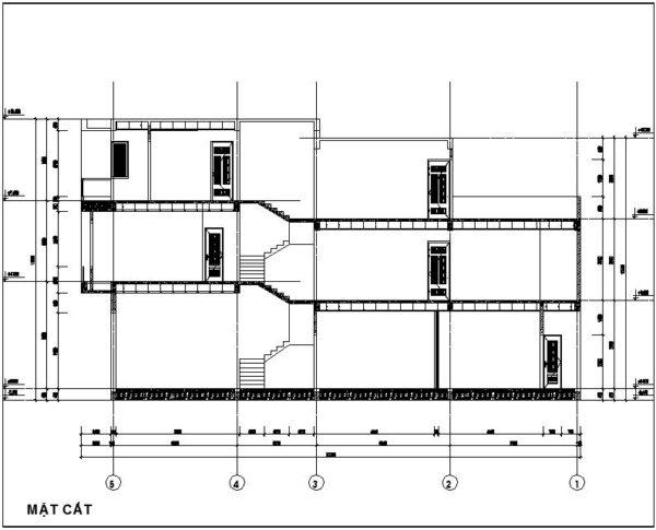 Mặt cắt mẫu nhà ống lệch tầng đẹp NDNP3T9