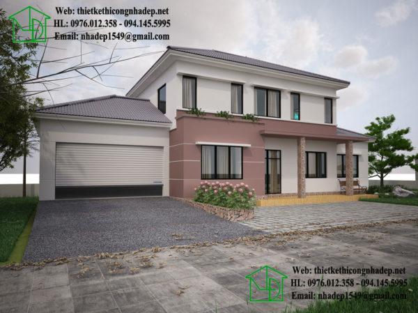 Mẫu nhà 2 tầng mái thái, biệt thự 2 tầng đẹp tại Hà Tây 10x20m NDBT2T21