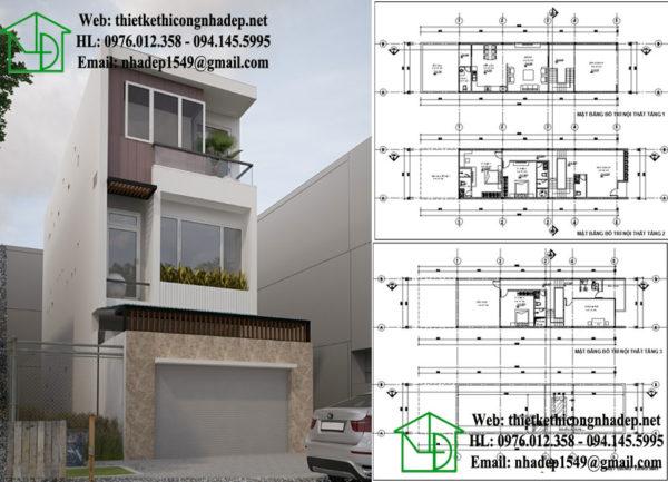 Mẫu nhà phố 3 tầng 6x18m NDNP3T9