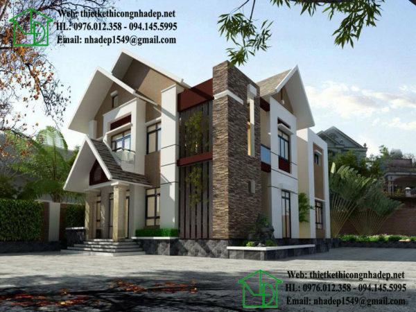 Biệt thự 2 tầng đẹp, biệt thự 2 tầng mái thái NDBT2T22
