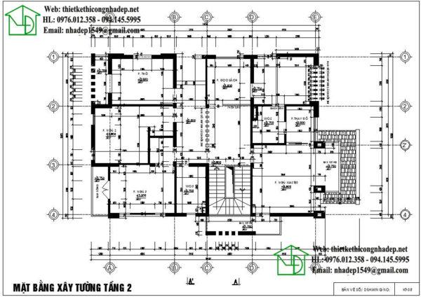 Mặt bằng tầng 2 biệt thự hiện đại đẹp NDBT2T22