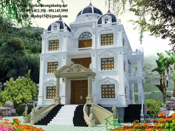 Biệt thự cổ điển châu âu, thiết kế lâu đài cổ điển NDBTCDP7