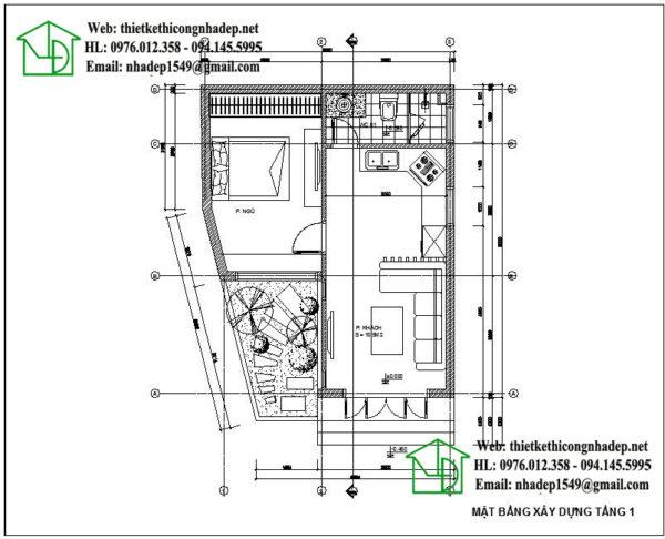 Mặt bằng nội thất nhà cấp 4 mái tôn NDNC431