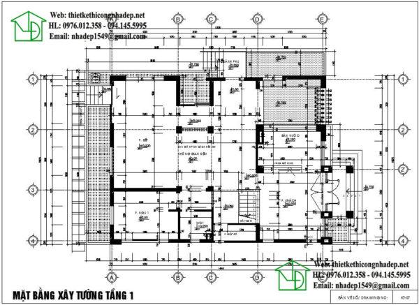 Mặt bằng tầng 1 biệt thự 2 tầng mái thái đẹp NDBT2T22