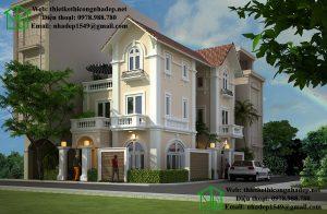 Mẫu nhà 3 tầng mái thái, thiết kế biệt thự vườn 3 tầng tại Đà Lạt NDBT3T8
