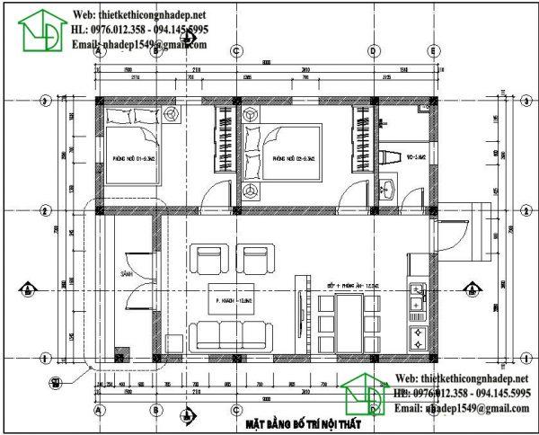 Mặt bằng bố trí nội thất nhà cấp 4 hiện đại NDNC435