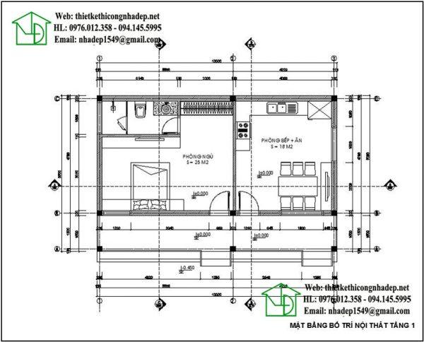 Mặt bằng kiểu nhà cấp 4 đơn giản NDNC434
