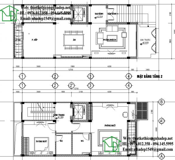 Mặt bằng nội thất tầng 2 và tầng 3 NDNTPK2