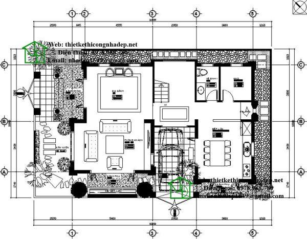 Mặt bằng tầng 1 biệt thự 3 tầng mái thái NDBT3T8