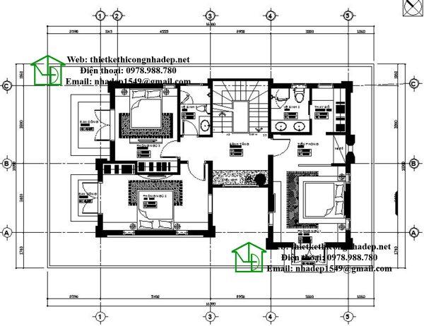 Mặt bằng tầng 2 nhà 3 tầng mái thái NDBT3T8