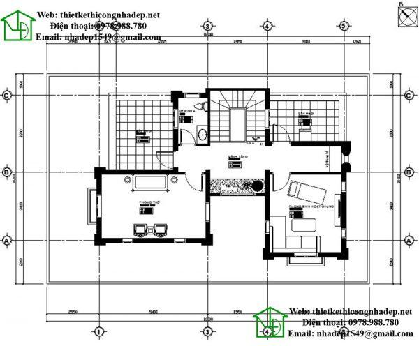 Mặt bằng tầng 3 biệt thự mái thái NDBT3T8