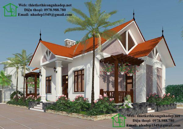Biệt thự vườn 1 tầng mái thái NDBT1T24