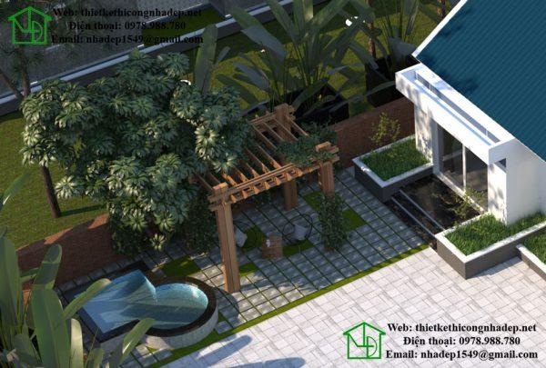 Biệt thự vườn 1 tầng mái thái đẹp NDBT1T25