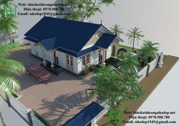 Kiến trúc nhà vườn đẹp 1 tầng NDBT1T23