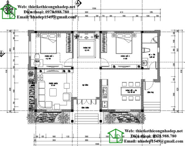 Mặt bằng nội thất biệt thự vườn 1 tầng mái thái NDBT1T22