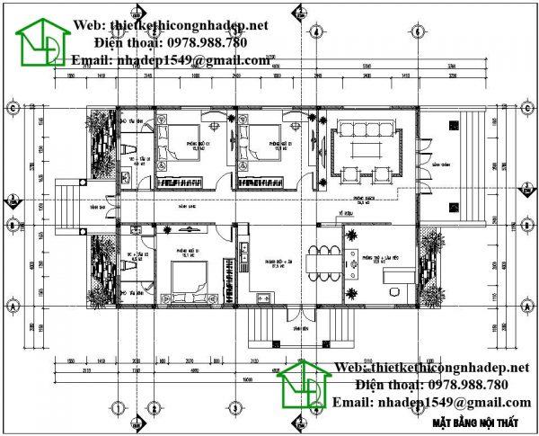 Mặt bằng nội thất biệt thự vườn 1 tầng NDBT1T23