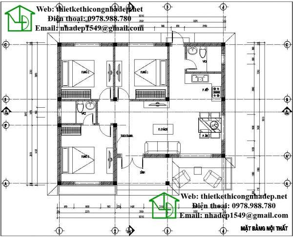 Mặt bằng nội thất nhà cấp 4 đơn giản NDNC439
