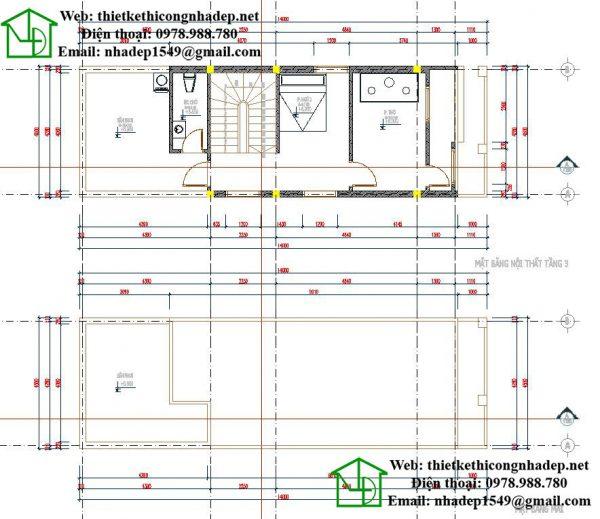 Mặt bằng nội thất tầng 3 và tầng mái NDNP3T10